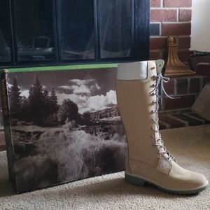 Size 9.5 Custom Timberland Cream Tall Boots